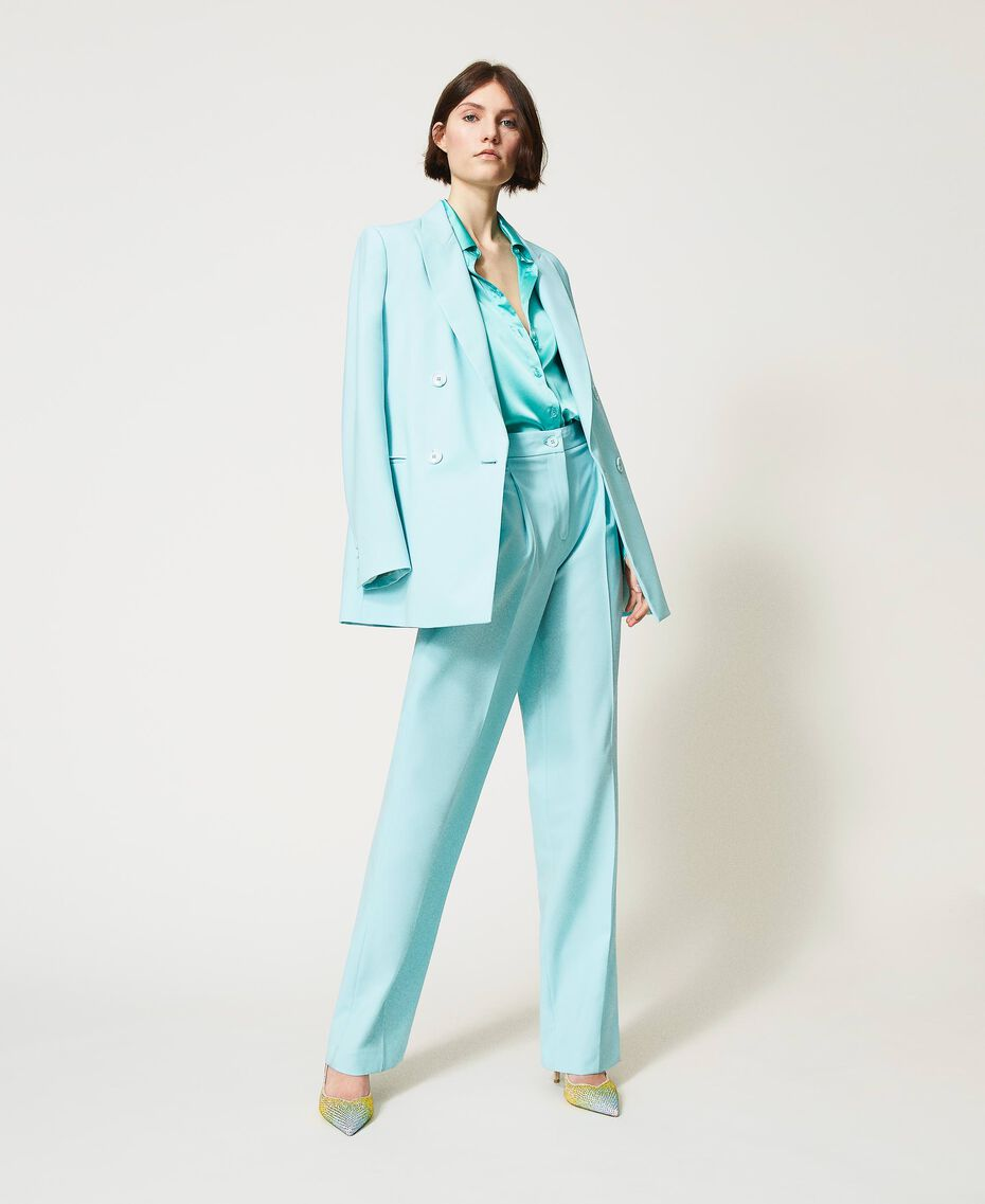 Pantalon en laine froide Vert «Nymphe Foncé» Femme 211TQ2057-01