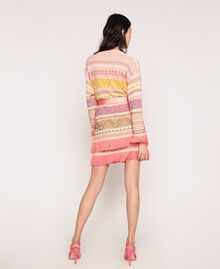 Maxi cardigan à franges Jacquard Multicolore Rose Femme 201TT3161-03