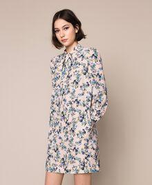 "Floral crêpe de Chine dress ""Quartz"" Pink Flowered Print Woman 201MP2374-03"