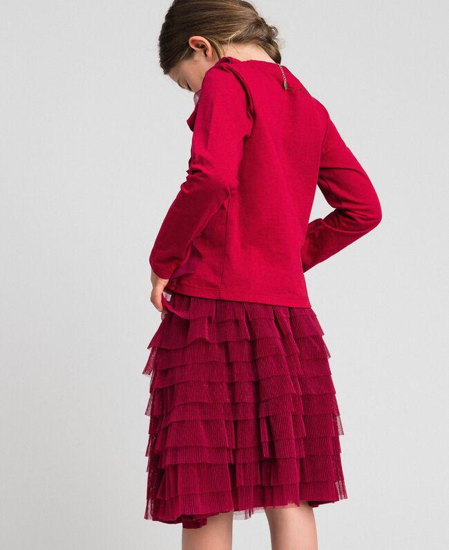 T-shirt con volant in tulle e collana Rosso Ruby Wine Bambina 192GJ2433-03