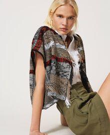 Jacquard cardigan with fringes Multicolour Jacquard Textured Woman 211TT3270-05