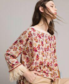 """Pull-cardigan floral avec plumes et strass Imprimé Bouquet Rose """"Bouton De Rose"""" Femme 191TP3415-04"""