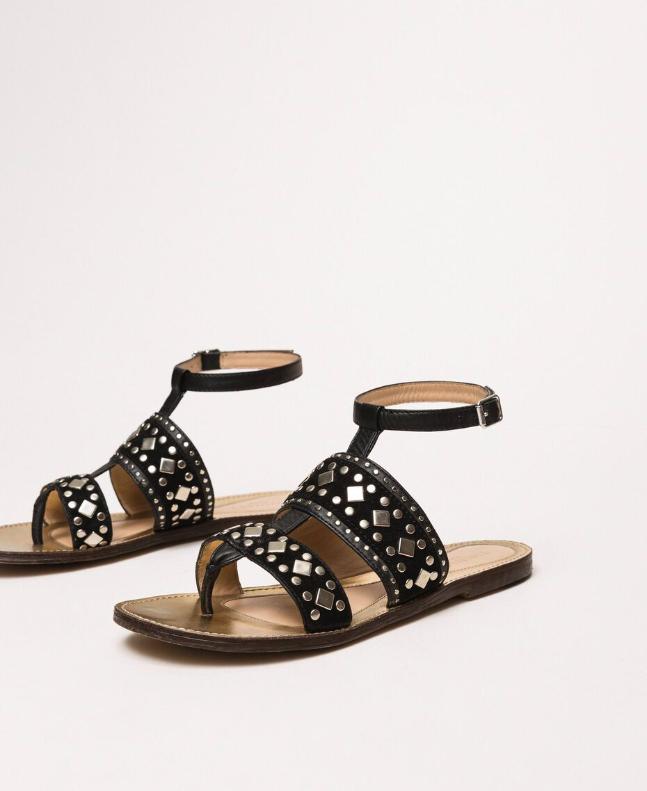 Flache Sandale aus Leder mit Nieten Schwarz Frau 201TCT04A-01