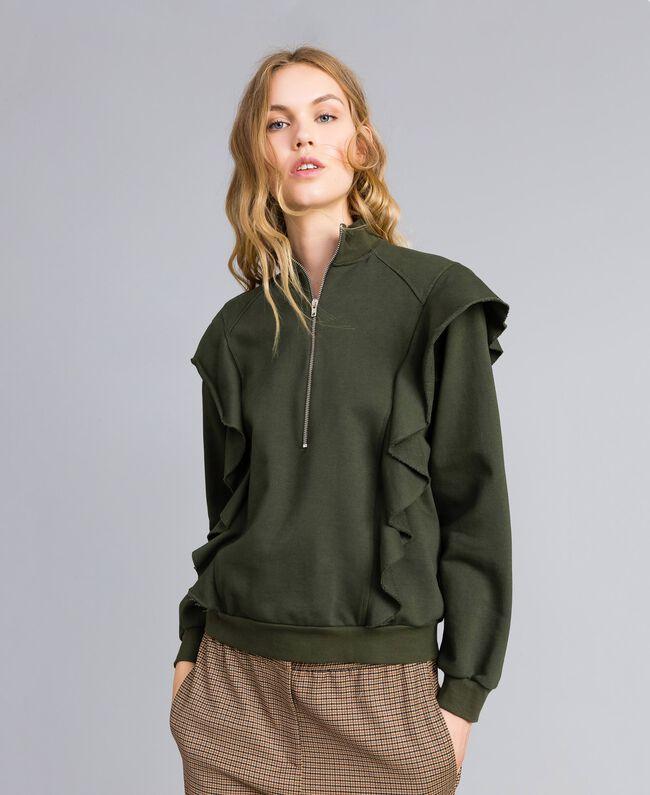 Sweatshirt aus Baumwolle mit Rüschen Waldgrün Frau TA82ZC-01
