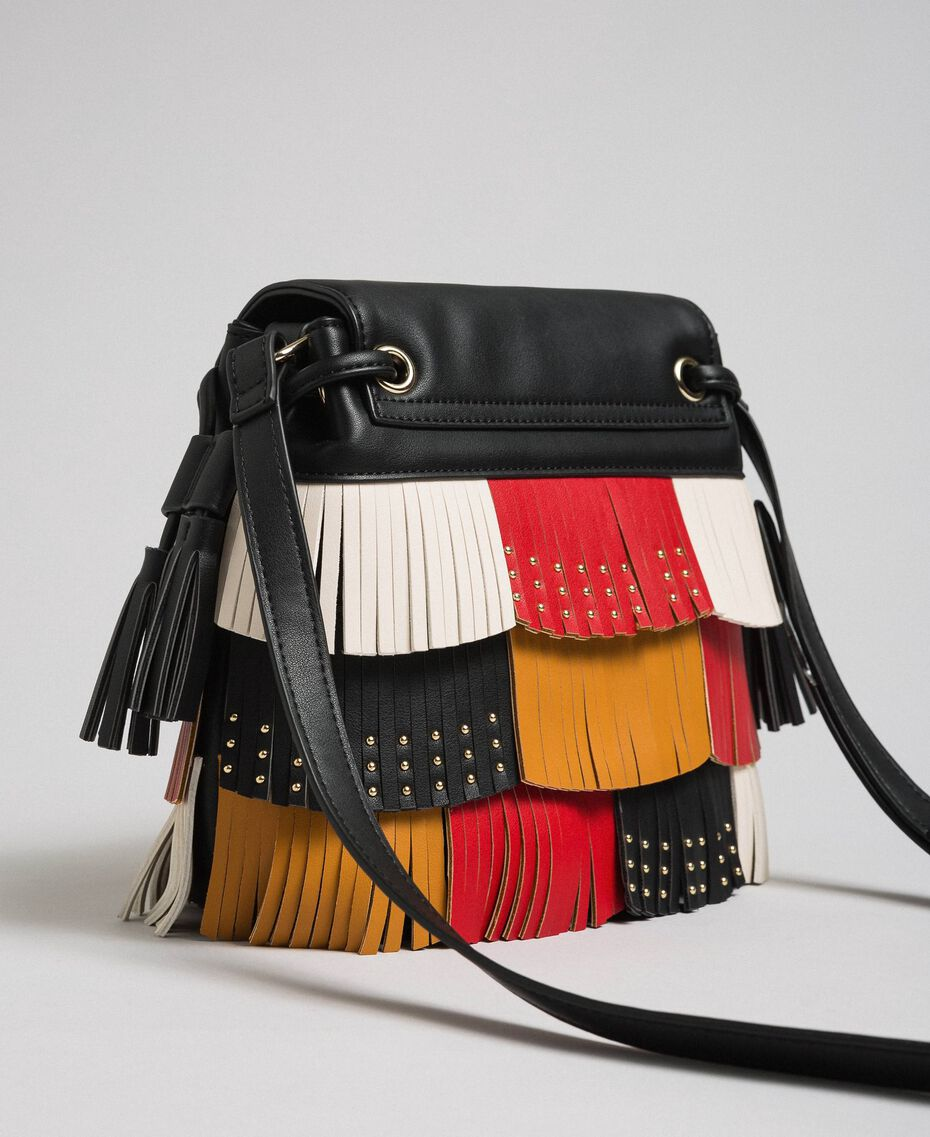 Faux leather bucket bag with fringes and studs Poppy Red / Saffron Yellow / Vanilla Woman 192MA7020-02