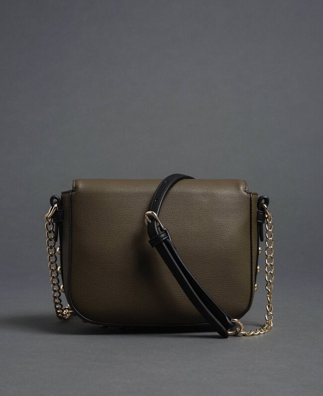 """Two-tone faux leather shoulder bag with studs """"Vetiver"""" Green / Blossom Pink Woman 192MA7103-04"""