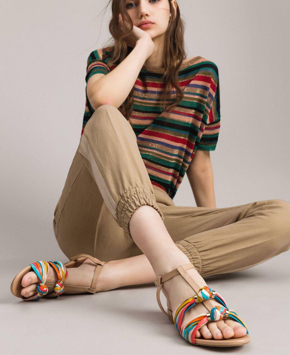 """Sandales en cuir multicolores Beige """"Nude"""" Femme 191TCT09E-0S"""