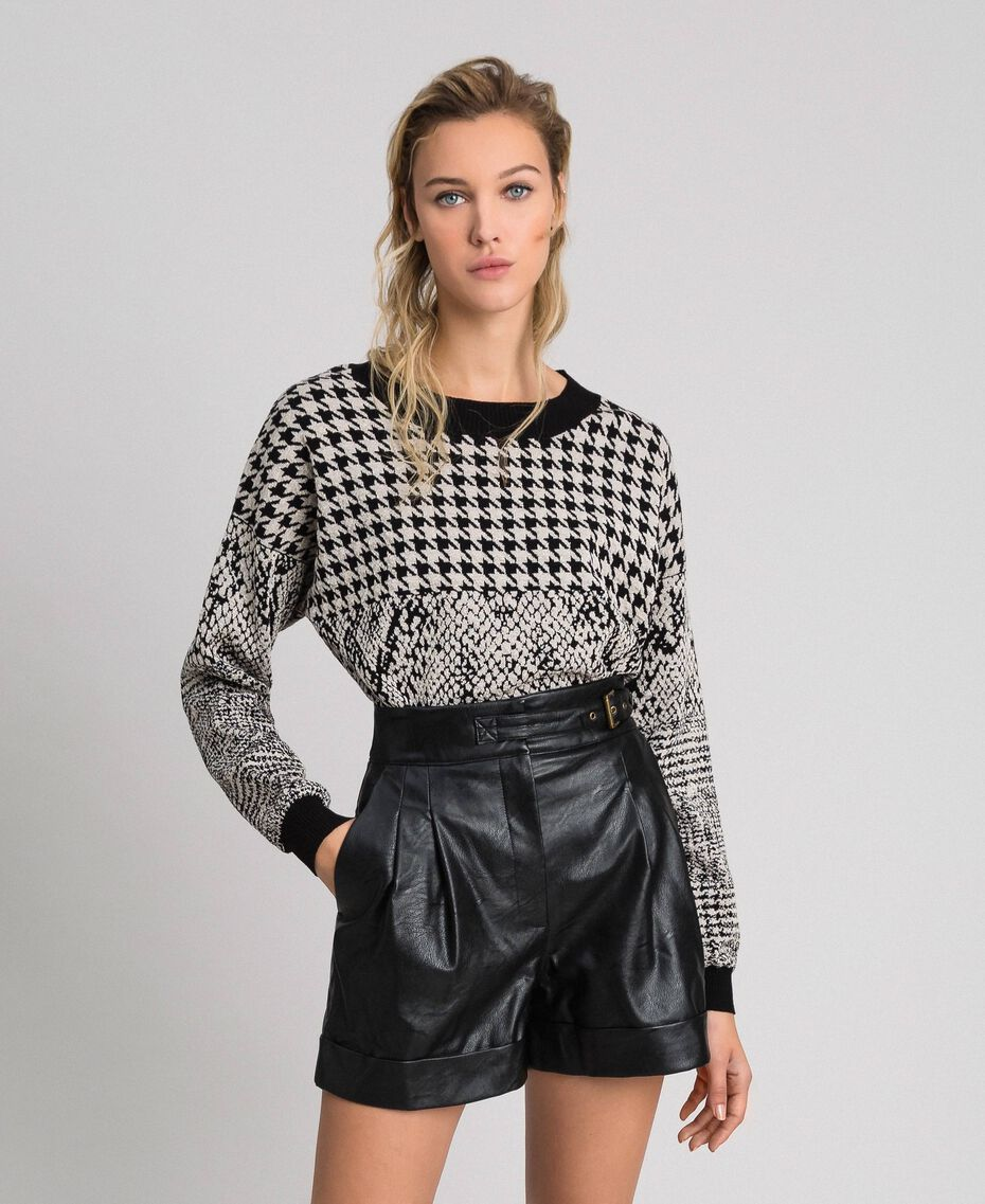 Faux leather shorts Black Woman 192TT203A-01