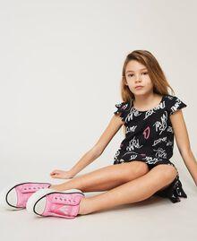 "Sneakers aus Canvas mit Logo ""Rose Bloom""-Rosa Kind 211GCJ070-0S"