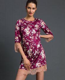 Abito jacquard a fiori con pizzo Stampa Fiori Purple Red Donna 192LI25FF-02