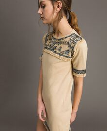 "Embroidered linen blend dress with fringed trim ""Marzipan"" Beige Woman 191TT3050-05"