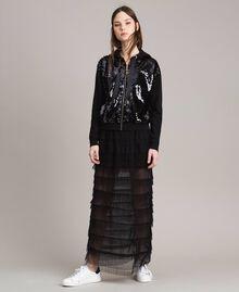 Long jupe plissée à volants Noir Femme 191MP2232-02