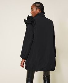 Taffeta puffer jacket with ruffles Black Woman 202ST2100-05