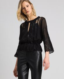 Georgette blouse with embroidery Black Woman 192TP2341-01