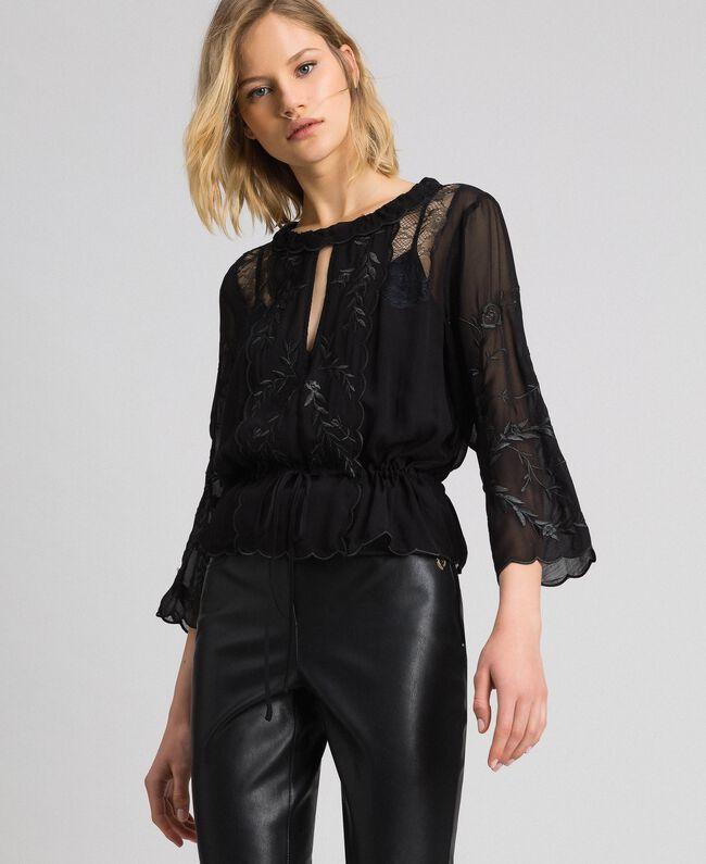 Blusa in georgette con ricami Nero Donna 192TP2341-01
