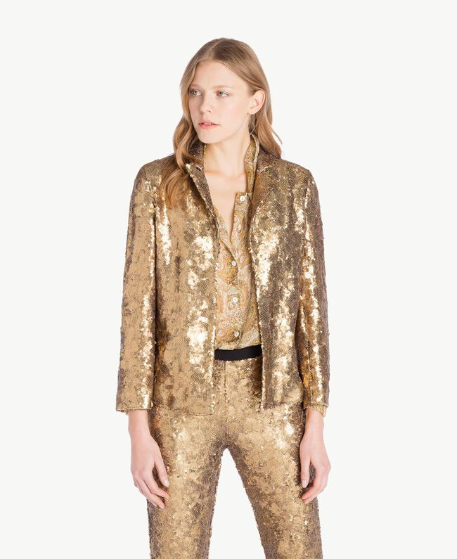 All over sequin jacket Gold Yellow Woman TS82EN-01