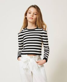 Striped jumper with cut-out and chains Off White / Black Stripes Child 211GJ350A-01