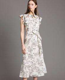 Robe chemise imprimée en lin Imprimé Toile De Jouy Noir Femme 191TT2460-01