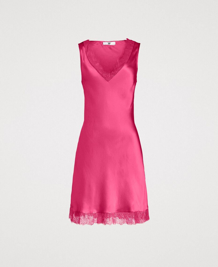 Slip dress in satin and lace Rose Blossom Woman 191LL2DBB-0S