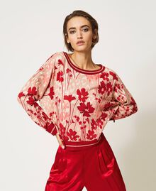 Cardigan-Pullover mit Blumendessin Blumen-Animal-Dessin Pfirsich / Kirschrot Frau 202TP3500-01