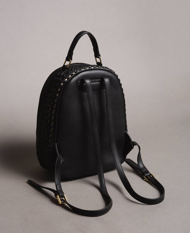 Braided faux leather backpack Black Woman 191TO8010-04