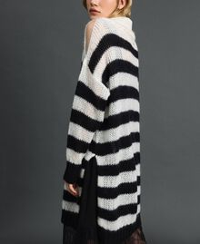 "Striped mohair dress with slip Black / ""Papyrus"" White Stripe Woman 192TP3270-03"