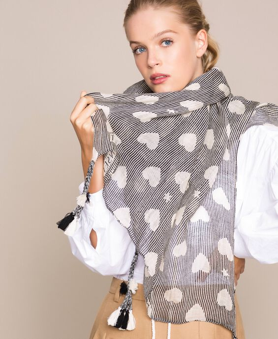 Stole with heart motif print