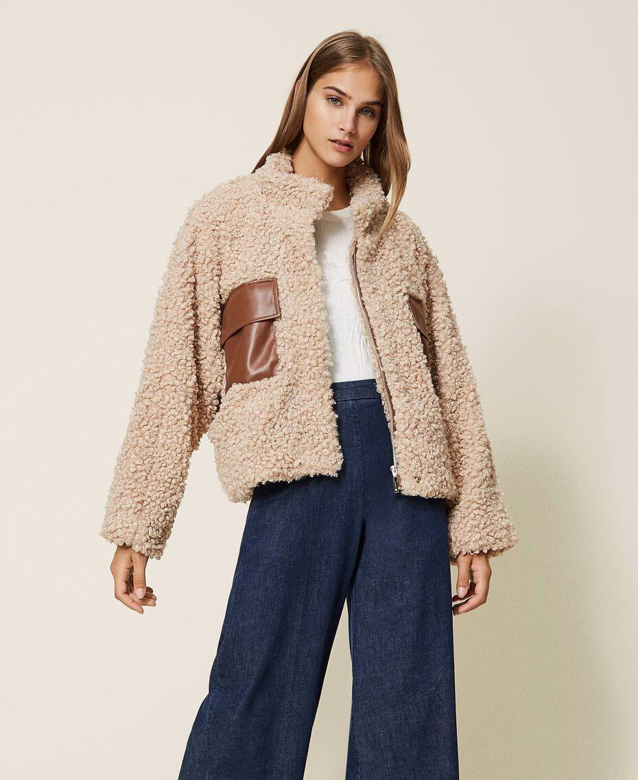 Faux shearling short coat Pink Cloud Pink Woman 202LI2BAA-01