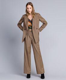 """Zweireihige Jacke aus Wollmischung Jacquard-Karomuster """"Gebranntes"""" Orange Frau TA821U-0T"""