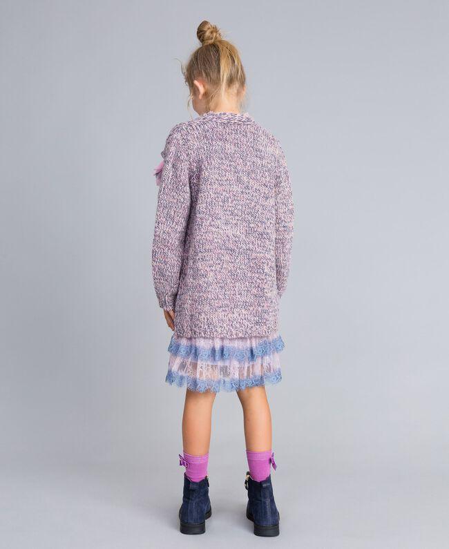 Maxi cardigan in mouliné yarn Multicolour Jacquard Child GA83EN-04