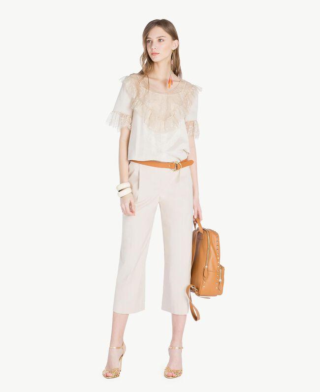 Bluse mit Spitze Calla-Weiß Frau TS82HB-05