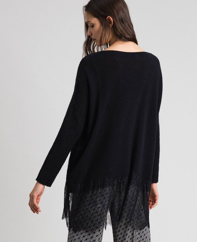 Brushed alpaca and lace maxi jumper Black Woman 192TP332G-03