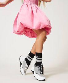Sneakers de piel con strass Bicolor Blanco «Off White» / Plata Niño 211GCJ020-0S