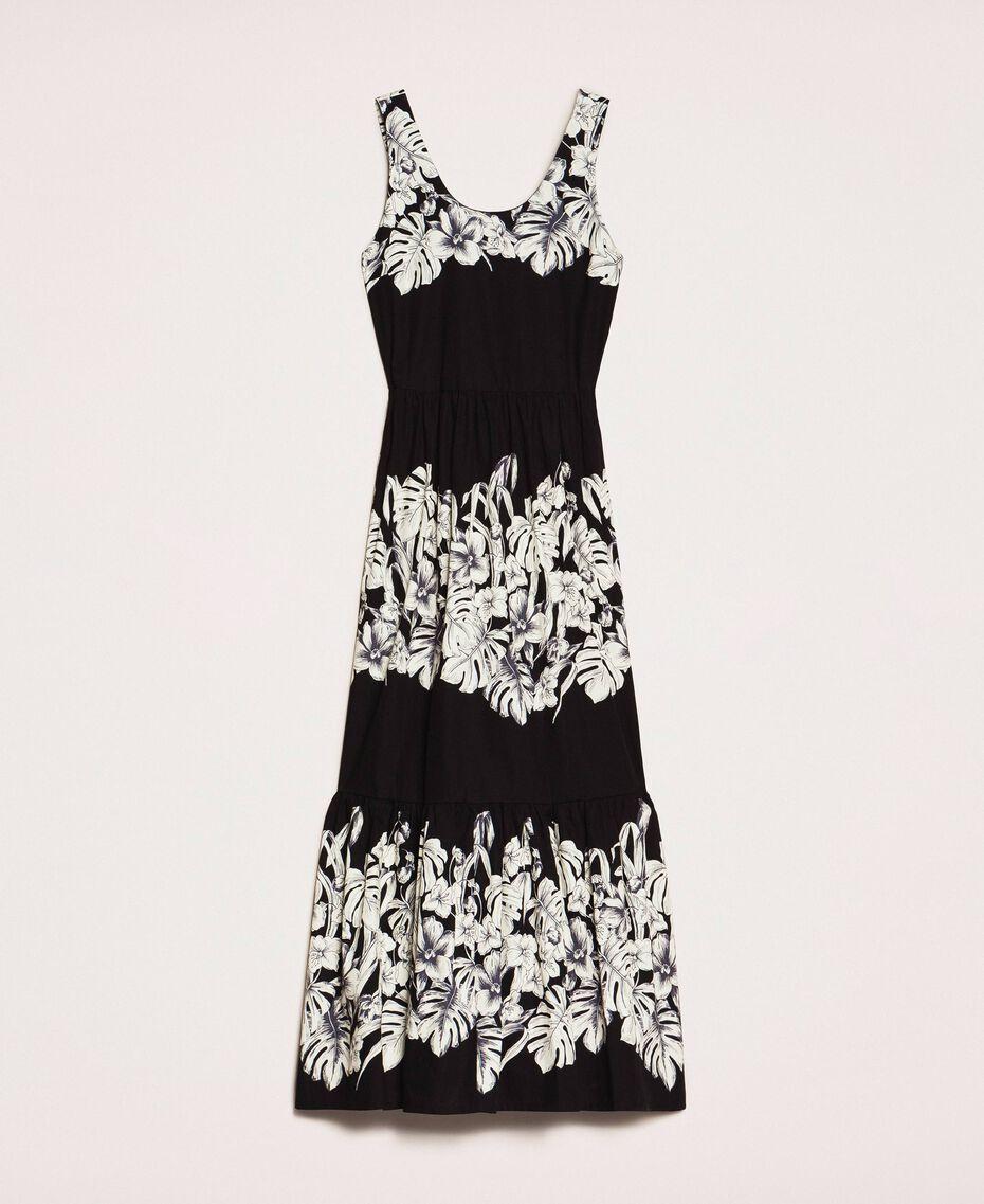 Robe longue en popeline florale Imprimé Fleur Graphique Noir Femme 201TT2313-0S