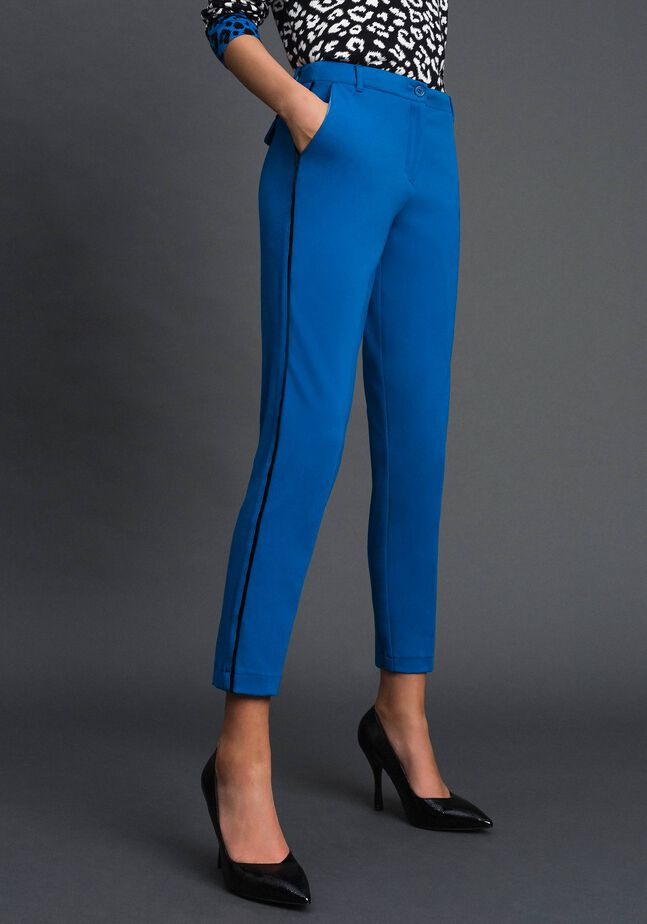 Cigarette trousers with velvet bands