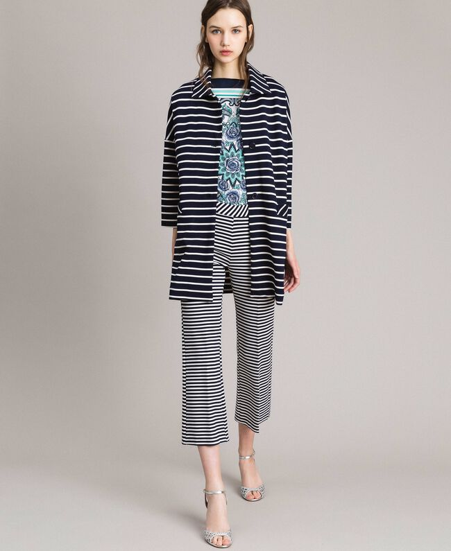 Ungefütterter Mantel mit Streifen Streifen Cremeweiß / Blue Shadow Frau 191ST2030-01
