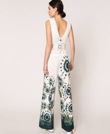 "Jumpsuit with crochet and print ""Atlantic Deep"" Blue Unevenly Dyed Print Woman 201LB3GAA-04"