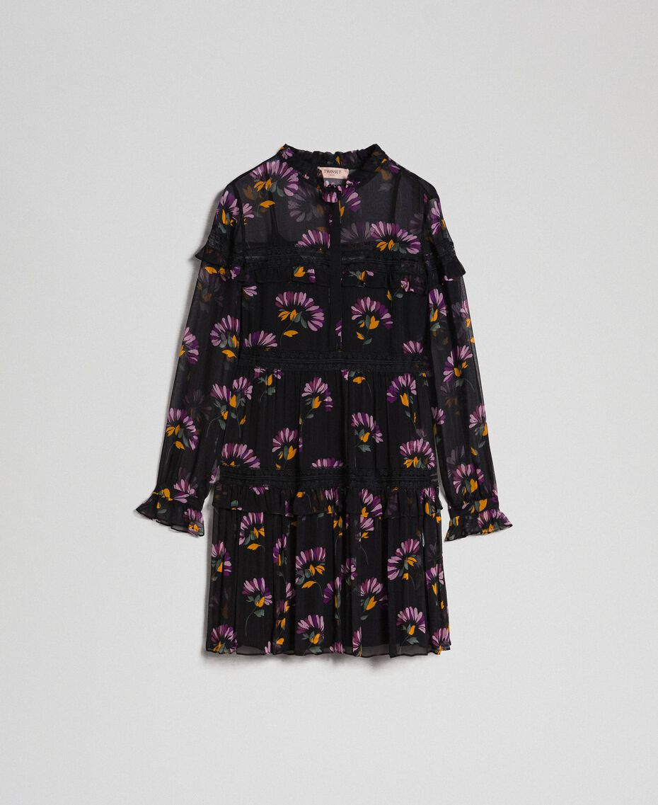 Camouflage and floral print dress Black Flowers Print Woman 192TT2122-0S