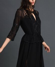 Georgette long dress with embroidery Black Woman 192TP2340-02