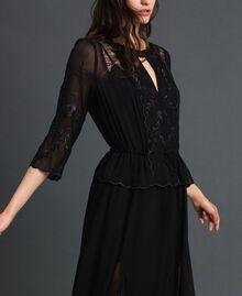 Длинное платье из жоржета с вышивками Черный женщина 192TP2340-02