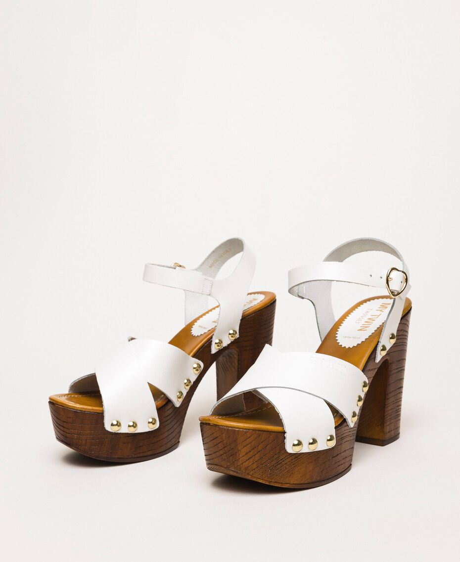 Кожаные сабо на каблуке Белый женщина 201MCT018-01