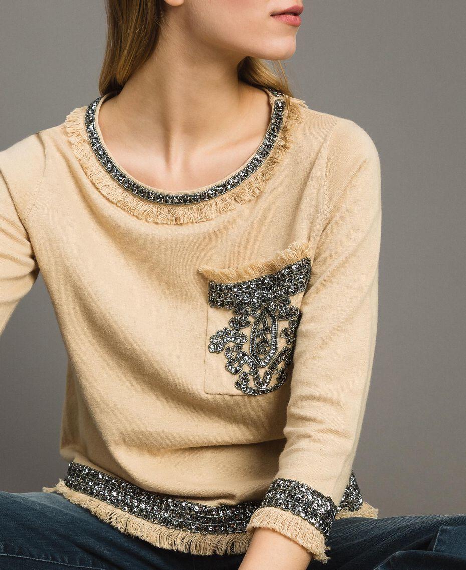 """Pullover aus Leinenmischung mit Stickereien """"Marzipan"""" Beige Frau 191TT3052-01"""