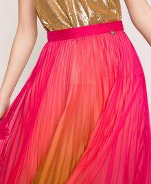 "Pleated chiffon long skirt ""Sugar Coral"" Red / Golden Yellow Fadeout Print Woman 201TT2520-05"