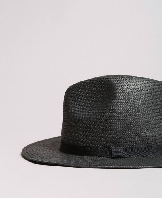 Hat with grosgrain ribbon