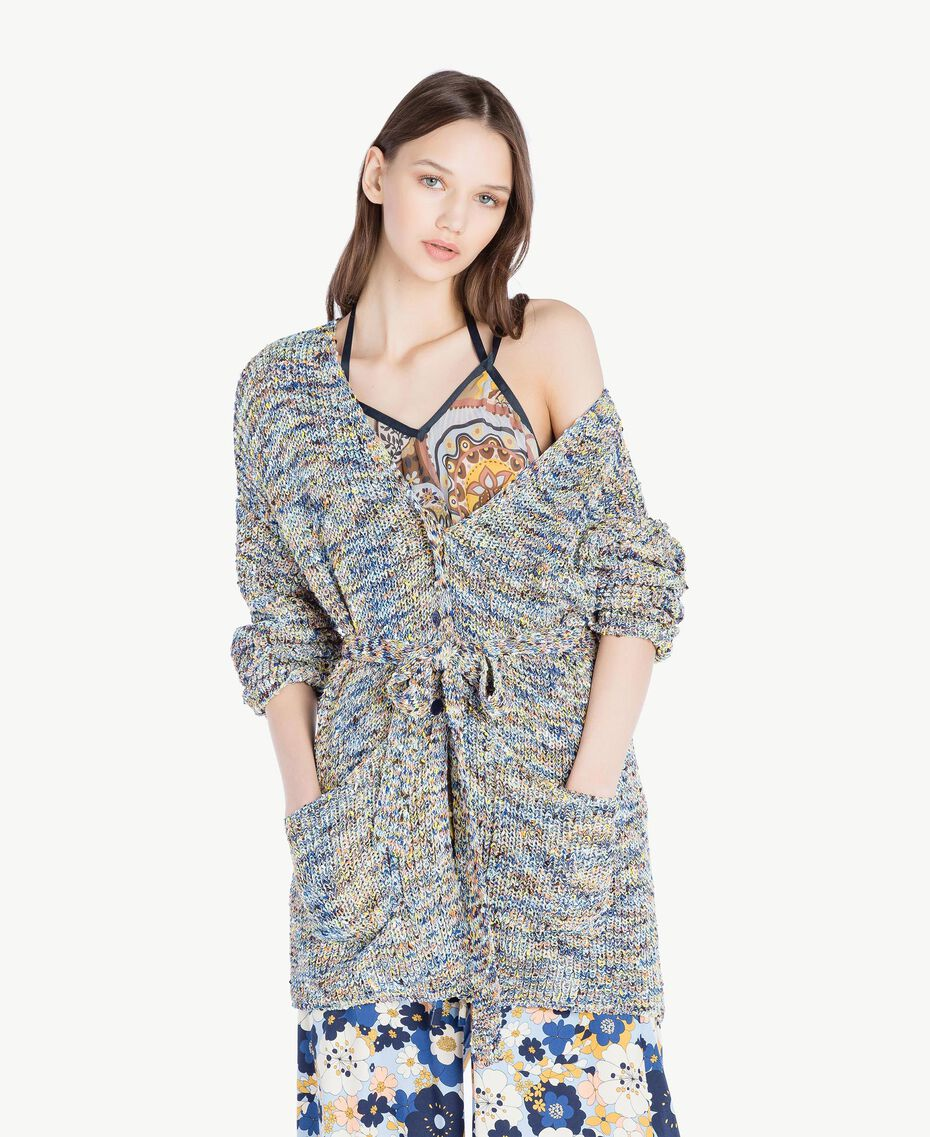 Oversized cardigan Multicolour Printed Yarn Woman SS83CB-01