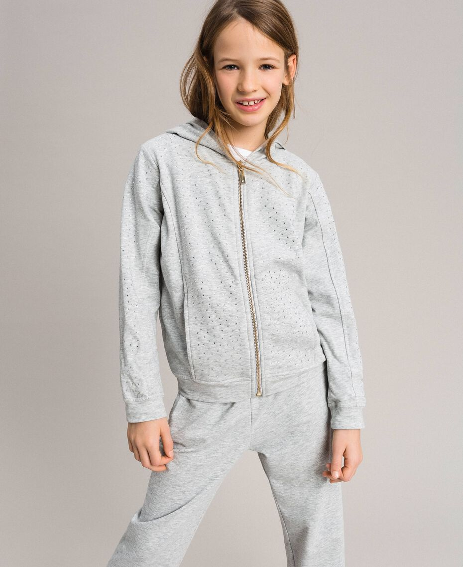 Stretch cotton tracksuit with rhinestones Light Gray Mélange Child 191GJ2461-0S