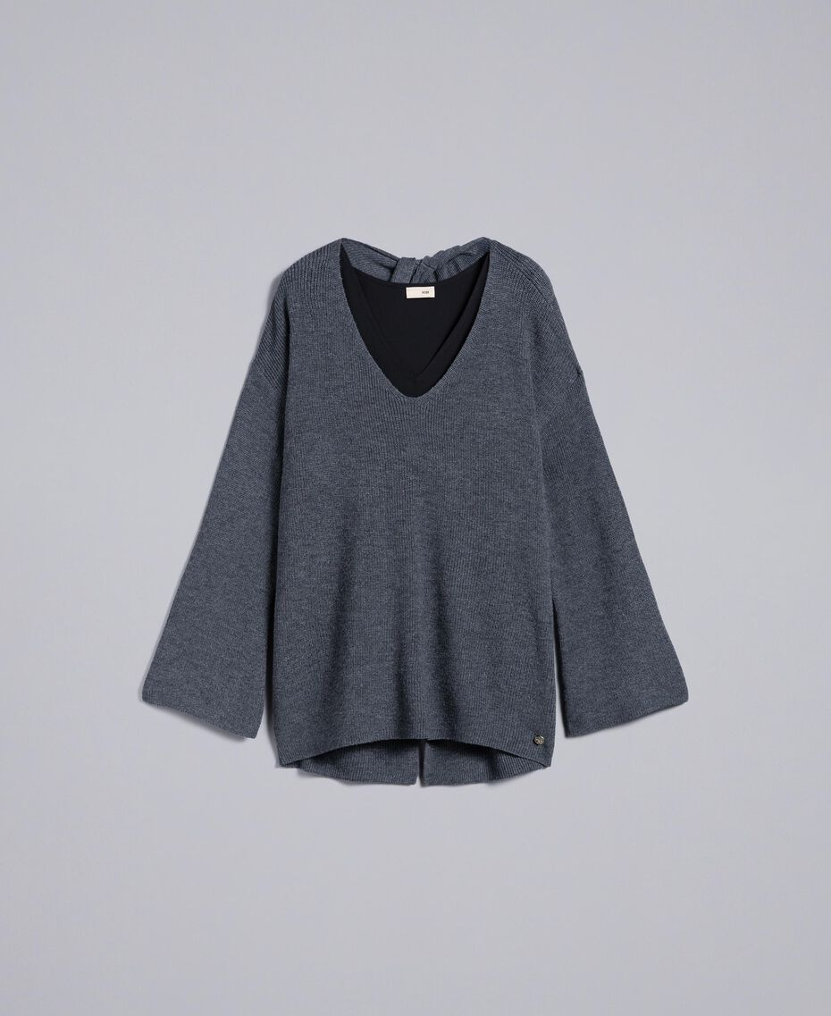 Pull et top en crêpe de Chine Bicolore Gris Chiné / Noir Femme SA83HN-0S