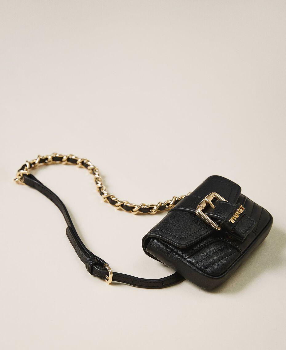 Belt with chain and Mini Rebel purse Black Woman 202TA434B-01