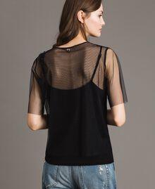Blouse en tulle avec patch brodé Noir Femme 191MP2131-03