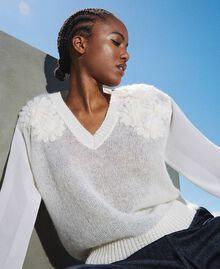 Jersey de mohair con bordado Blanco Nata Mujer 202TP3260-01